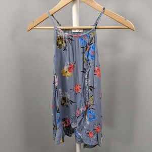 Maurices Blue Floral Ruffle Halter Tank Top, S